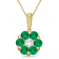 Flower Diamond & Emerald Pendant Necklace Yellow Gold Women's, Size: No Chain, green Emerald Pendant, Emerald Necklace, Emerald Jewelry, Gold Pendant Necklace, Gemstone Necklace, Diamond Pendant, Pretty Necklaces, Summer Jewelry, Or Rose