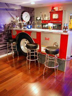 Firefighter Bar for a man cave Man Cave Basement, Man Cave Garage, Basement Bathroom, Bathroom Ideas, Man Cave Diy, Man Cave Home Bar, Bar Concept, Billard Bar, Table En Granit