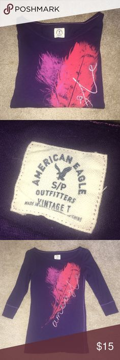 American Eagle Vintage Tee Barely worn, in perfect condition  It's a three quarter sleeve tee American Eagle Outfitters Tops Tees - Long Sleeve