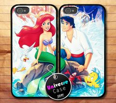 Ariel The Little Mermaid Disney Love iPhone 5 Case Couple Hard Plastic