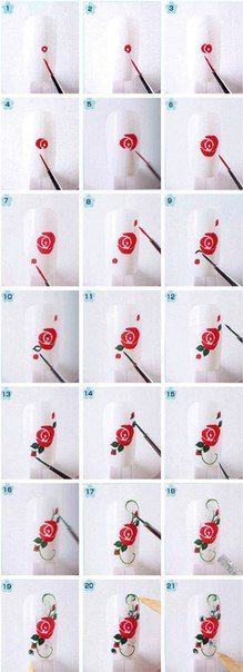 Effect art tutorials How to Make Floral Nail Art tutorial floral nail art 4 Rose Nail Art, Floral Nail Art, Rose Art, Nail Art Diy, Diy Nails, Rose Nail Design, Nail Nail, Diy Rose Nails, How To Nail Art