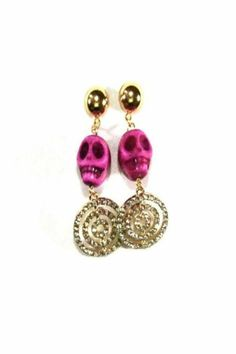 Metal Skull Bead Earrings!  Wear with an updo for an edgy look!   Calaca Pink Earrings! by Angela Diaz. Accessories - Jewelry - Earrings Queens, New York City