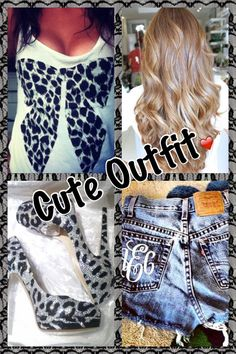 Cute tank top with black and silver leopard bow + high waisted jean shorts + black and silver leopard high heels / high heeled shoes + light brown hair ombré with curls / curly hair. Collage of cute outfit ❤❤