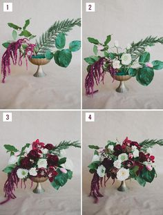 DIY: Winter Floral Centerpiece with pops of Marsala | Weddbook.com