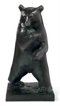 ¤ GEORGES LUCIEN GUYOT (france 1885-1973) A Patinated Bronze Figure of a Bear, circa 1930 30¼ in. (77 cm.) high, 15¼ in. (38.7 cm.) wide, 14½ in. (36.8 cm.) deep signed in the mold Guyot and with foundry mark Susse Fres Paris cire perdue