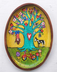Small Folk Art Painting on Wood Tray by evesjulia12 on Etsy