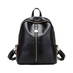 312f19c4658b Fashion Women Leather Backpack Simple Style Backpacks For Teenage Girls  Rivet School Rucksack Black Travel Zipper Bags mochila