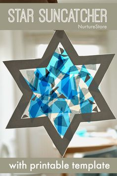 Easy Hanukkah craft for kids – star suncatcher – NurtureStore easy star craft for kids Hanukkah craft Christmas Crafts For Kids, Christmas Activities, Craft Activities, Preschool Crafts, Holiday Crafts, Kids Crafts, Arts And Crafts, Christmas Stars, Hanukkah For Kids