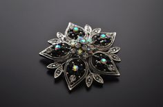 crystal brooch - flower - black
