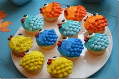 Scratch the Very Hungry Caterpillar cupcakes. Seeing as how we are going to the Aquarium for the day cause his love of fish, I think these are a winner!