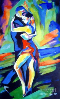 Colorful Painting - Tango by Helena Wierzbicki Figure Painting, Painting & Drawing, Abstract Canvas, Canvas Art, Canvas Prints, Tango Art, Dance Paintings, Arte Pop, Colorful Paintings
