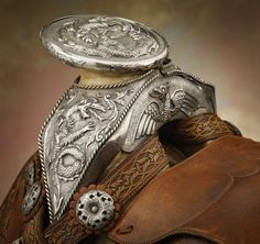 Fabulous 1920s Mexican Dragon Saddle with Bridle, Bit, Cinch, Gun Rig, Sword and Scabbard
