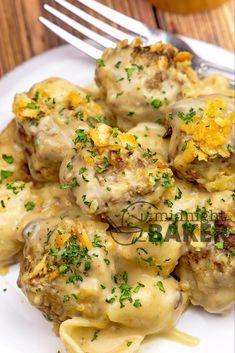 Meatball Casserole, Beef Casserole Recipes, Meat Recipes, Cooking Recipes, Pasta Recipes, Yummy Recipes, Dinner Recipes, Pasta Casserole, Barbecue Recipes