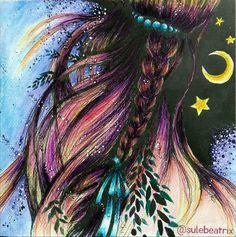 Moonlight Girl #moonlightgirl#karolinakubikowska #podrugiejstroniesnu #colouring #adultcoloringbook #coloringbook #derwentinktense #moon #moonlight