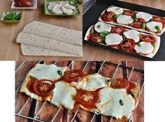 Pizza ligera de tomate, mozzarella y albahaca
