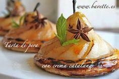 Tarta de peras en almibar con crema catalana
