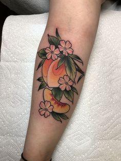 Latest Tattoos by all Artists M Tattoos, Flower Tattoos, Body Art Tattoos, Cool Tattoos, Elbow Tattoos, Piercing Tattoo, Piercings, Peach Tattoo, Fruit Tattoo