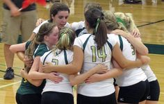 Team Huddle. Husson volleyball 2013
