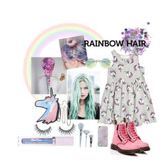 """""""Unicornio"""" by alejandra-07 ❤ liked on Polyvore featuring beauty, The Gypsy Shrine, Unicorn Lashes, Dr. Martens and Lime Crime"""
