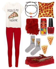 """""""Pizza is my Valentine"""" by meaganmuffins ❤ liked on Polyvore featuring WearAll, Venessa Arizaga, Topshop, Minnetonka, FRUIT, Woven Workz, OPI, pizza and valentinesday"""