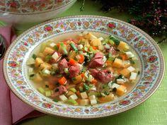Suppe med lettsaltet kjøtt Cheeseburger Chowder, Cantaloupe, Salsa, Oatmeal, Fruit, Breakfast, Ethnic Recipes, Food, The Oatmeal