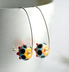 Funky Glass Earrings Statement Earrings Bright by WildWomanJewelry