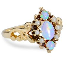 Pretty! Swirls, Opals  Pearls in an Antique Ring - The Three Graces