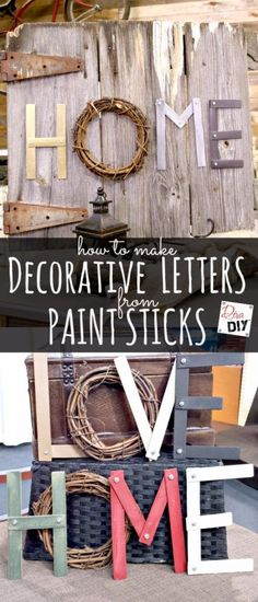 DIY Projects Made With Paint Sticks - Decorative Letters From Paint Sticks - Best Creative Crafts, Easy DYI Projects You Can Make With Paint Sticks From The Hardware Store - Cool Paint Stick Crafts and Furniture Project Tutorials - Crafty DIY Home Decor Ideas, Wall Art and Furniture That Make Awesome DIY Gifts and Christmas Presents for Friends and Family http://diyjoy.com/diy-projects-paint-sticks