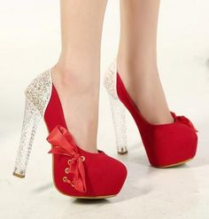 2016 trendy red bow high heels