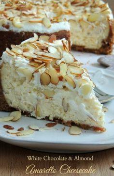 White Chocolate Almond Amaretto Cheesecake