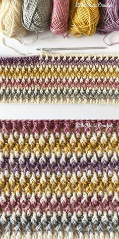 Alpine Stitch by Little Duck Crochet Dreamy Alpine Stitch Ideas. Use leftover yarn scraps to make amazing colorful blanket or accessory. Crochet Crafts, Yarn Crafts, Crochet Projects, Crochet Stitches Patterns, Stitch Patterns, Knitting Patterns, Afghan Patterns, Crochet Hooks, Free Crochet