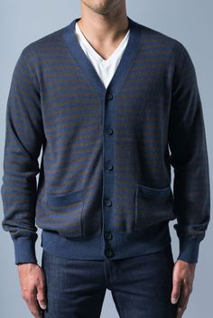 {The Cuomo} Striped Cardigan in Heather Navy and Jade