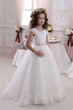 Cheap communion dresses, Buy Quality first communion dresses directly from China flower girl dresses Suppliers: Real Image Ivory White Lace Flower Girls Dresses Ball Gown Floor Length Girls First Communion Dress Princess Dress Old 2017 Tulle Flower Girl, Wedding Flower Girl Dresses, Wedding Party Dresses, Bridesmaid Dresses, Dress Party, Prom Dress, Prom Party, Dress Formal, Wedding Outfits