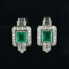A pair of art deco emerald and diamond earrings, circa 1925                                                                                                                                                                                 More
