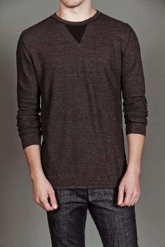 Counter Intelligence L/S Crew with Contrast Neck Insert