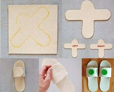 DIY slippers. I wonder what kinds of material you could use for these.