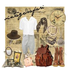 vintage safari by johnafandoe on Polyvore featuring French Connection, Frye, Dogeared, Codello, Topman, Chanel, Infinity Instruments and vintage