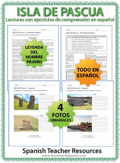 3 Reading texts in Spanish about Easter Island (Isla de Pascua) with comprehension questions and original photos.