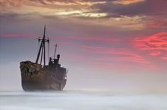 Abandoned ship in Greece.  Photo by landscape photographer Mary Kay.