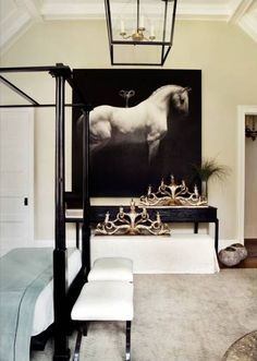 oversized black and white horse canvas in bedroom