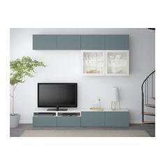 BESTÅ Tv-møbel med vitrinelåger - hvid/Valviken turkisgrå/klart glas, skuffeskinne, letløbende - IKEA
