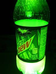 DIY glow sticks. You need a 16 oz. bottle of Mountain Dew, peroxide, and baking soda. Take the Mountain Dew bottle and pour out 3/4 of the Mountain Dew. Put just a little bit of baking soda (amount of the tip of a spoon). Next put 3 cap fulls of peroxide. Close the bottle and shake well.