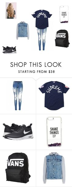 """school looks #2"" by merel-meuleman ❤ liked on Polyvore featuring Supreme, NIKE, Kate Spade and Vans"