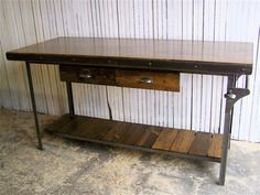 GRAND KITCHEN ISLAND work bench, man cave, storage table, commercial cart, industrial table, coffee cart, office storage, prime, classic by BrooklynReclamation on Etsy https://www.etsy.com/listing/215748777/grand-kitchen-island-work-bench-man-cave