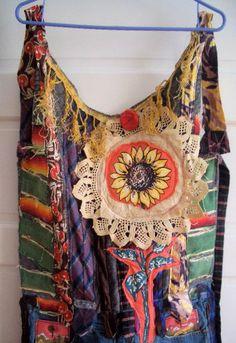Denim Maxi APRON  Dress  Vintage Fabric Fiber Cloth Textile  Upcycled Wearable Art  COLLAGE Duster Maxi  mybonny