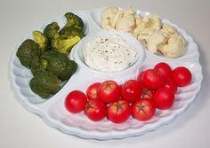 Fake Food Veggies with Dip on White Serving Platter