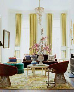 Burgundy and yellow living room #home #pillows #decor