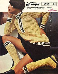Quadruple Love!  Knitting Pattern 60s Mod Sweater Top & Socks Vintage