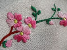 Vintage Linen Tablecloth Hand Embroidered Pink Cherry Blossoms