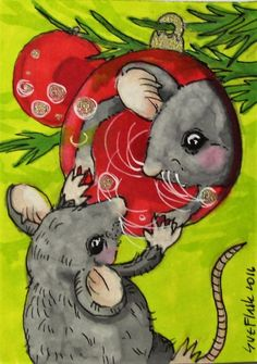 ACEO Original Pen ProMarker Drawing Christmas Mouse Love @ First Sight Sue Flask #Miniature